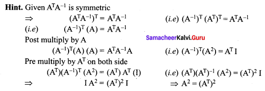 Samacheer Kalvi 12th Maths Solutions Chapter 1 Applications of Matrices and Determinants Ex 1.8 Q11