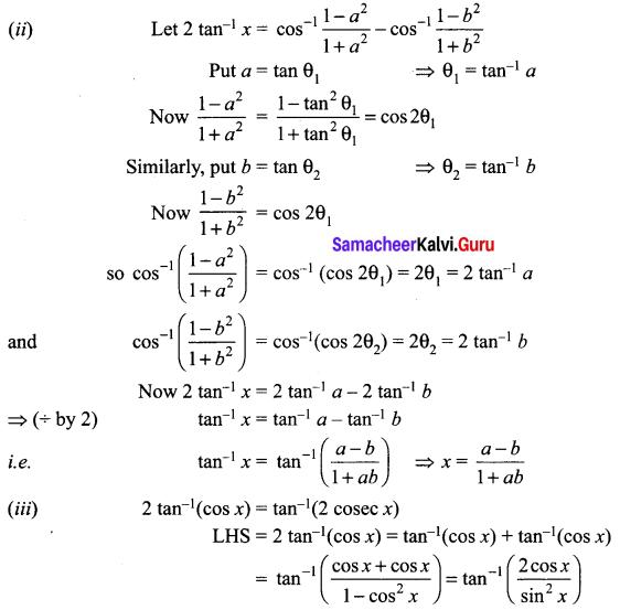 Samacheer Kalvi 12th Maths Solutions Chapter 4 Inverse Trigonometric Functions Ex 4.5 Q9.1