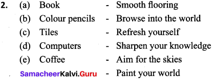 Samacheer Kalvi 9th English Matching Slogans with Products 2
